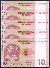 CONGO - LOTE 5 BILLETES  10 CÉNTIMOS 1997 Pick 82   SC  UNC