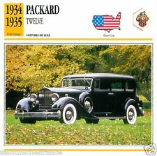 PACKARD TWELVE 1934 1935  CAR VOITURE USA ETATS-UNIS CARTE CARD FICHE