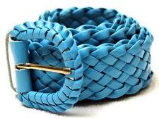 NEU 95cm GÜRTEL FLECHTGÜRTEL glänzend-blau FLECHT GÜRTEL DAMENGÜRTEL LACKGÜRTEL