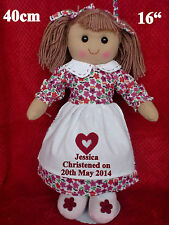 "x PERSONALISED CHRISTENING / HOLY COMMUNION RAG DOLL FLORAL DRESS 16"" GIFT"