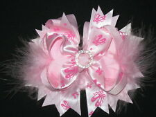 "NEW ""BALLET SLIPPERS"" Fur Hairbow Alligator Clips Girls Ribbon Bows 5 Inches"