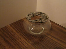 trinket box glass w/cut out pewter lid of 3 roses