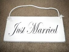 "Distressed white wood sign ""Just Married"" with rope hanger for weddings!"