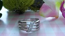 Beautiful Waves CZs Solid ID Band Ring Real Sterling Silver *Size 9 1/4 *D099