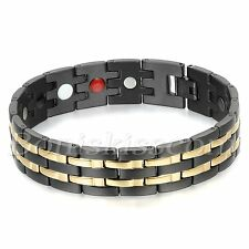 Mens Stainless Steel Gold Black Tone Health Powerful Bracelet Chain with Magnets