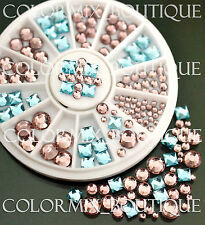 #R47 Nail Art Tips Decoration Blue Pink Square Round Glass Rhinestones+Wheel