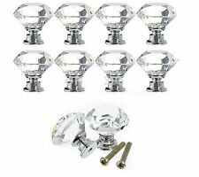 10X30MM Glass Crystal Cabinet Cupboard Closet Drawer Door Pulls Knobs Handle Set