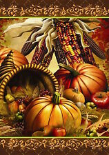 "Bountiful Harvest Autumn House Flag Cornucopia Indian Corn 28"" x 40"""