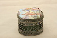 TINY RUSSIAN HAND PAINTED CRICKET CAGE OR COVERED BOX ENAMEL METAL MELCHIOR