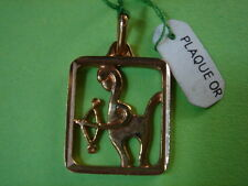 MEDAILLE DU ZODIAQUE SAGITAIRE VINTAGE 70 PLAQUE OR NEUF/NEW GOLD PLATED ZODIAC