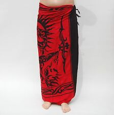 NEW UNISEX MENS WOMENS RED BLACK SARONG BEACH POOL WRAP SWIMWEAR COVER UP /sa018