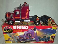 VINTAGE 1985 KENNER MASK RHINO VEHICLE & MATT TRAKKER BRUCE SATO FIGURES BOXED