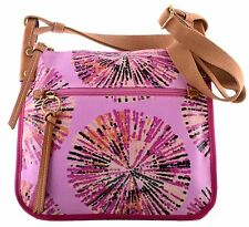 NWT FOSSIL KEY PER COATED COTTON ZIP TOP CROSSBODY MESSENGER BAG PINK MULTI NEW