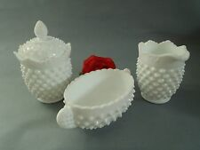Vintage made before 1937 Fenton Hobnail White Milk Glass Condiment Set