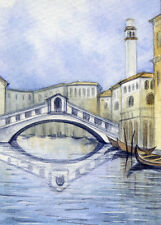 ACEO Original Miniature Watercolor Painting Venice by Elena Mezhibovsky