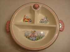 Vintage Sweet Baby Childs Divided Childs Dish, Mary Had a Little Lamb Kitten Pup
