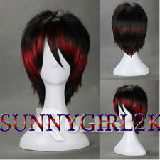 Short layered Red and Black Mixed Anime Cosplay wig