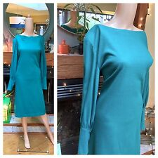 Vintage 70s 80s Dolam Sleeve Batwing Knit Green Body Con Sweater Dress M L