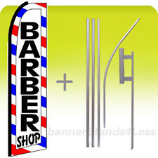 Feather Swooper Banner Sign Flag 15' Kit - BARBER SHOP (white boxed) bq