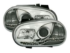 PHARES FEUX AVANT DEVIL EYES CHROME CRISTAL LED VW VOLKSWAGEN GOLF 4 1.4 1.6 1.8