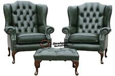2 xChesterfield Mallory Queen Anne High Back Wing Chairs Green Leather+Footstool