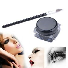 Pro 2 Set WATERPROOF EYELINER GEL Eye Liner Shadow POT CREAM LIQUID+BRUSH BLACK
