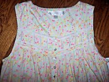 NWT Eileen West White/Pink Floral Sleeveless Nightgown Gown S SOFT COTTON JERSEY