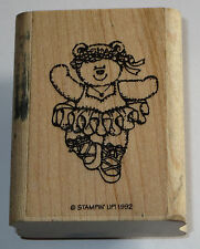 Ballerina Teddy Bear Rubber Stamp Ballet Tutu Stampin' Up! Lace Up Shoes 1992
