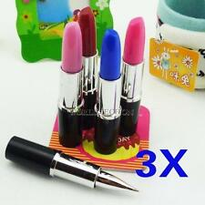 3x Lipstick Shape Cute Ball Point Pen Lady Favor Office Stationery Set