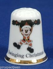 Mickey Mouse Swinging Christmas 'Exclusive' China Thimble B/67