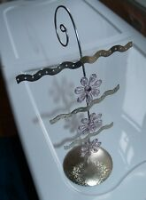 3 Tier JEWELRY ORGANIZER & Display Stand - TEEN -Silver Finish- Pink Flowers