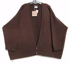 NWT Eskandar EBONY Handloomed Heavy Weight Cashmere V-Neck Cardigan O/S $2190