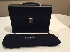HUGO BOSS Men's  Black Leather Briefcase NEW WITHOUT TAG