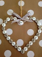 Vintage/Shabby Chic Handmade Button Hanging Heart Light Grey & White Gift Home