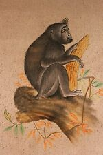Hand Painted Gorilla in Tree. Painting on Fabric Square. Art. India. Beautiful!