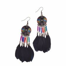 Women Dreamcatcher Dream Catcher Drip Black Feathers Multi-color Beads Earrings