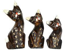 Lot de 3 chats en Bois Artisanat Set Peint Wooden cat chat collection décoration