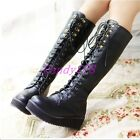 Hot Womens Punk Goth Platform Wedge Lace Up Military Knee High Boots Black Shoes