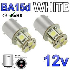 2 x 12v Cool White BA15D 8 SMD LED Taxi Roof Sign Light Bulbs 209