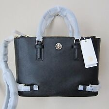 Tory Burch Robinson Small Multi Tote Double Zip Handbag Black $495
