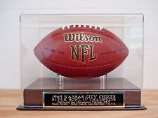 Football Display Case With A Kansas City Chiefs Super Bowl 4 Champions Nameplate