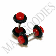 X123 Fake Cheater Illusion Faux Ear Plugs 16G Bar - 6G = 4mm Red 2pcs SALE!!!!