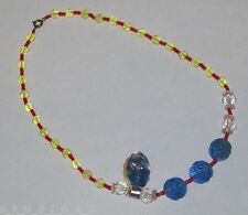 1930s Czech Glass Bead Necklace Blue Red Clr Vintage Mardi Gras Throw Beads Tag