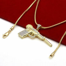 "Men's 14k Gold Plated Luxury High Fashion Hand Gun 3mm 27"" Franco Snake Chain"