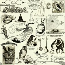 SEW SCARY VINTAGE STYLE WITCHES OWLS SPIDERWEBS HALLOWEEN FABRIC