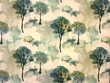 VOYAGE POMONA OPAL GREEN TREE LINEN ALCHEMY PRINTED UK CURTAIN FURNISHING FABRIC