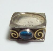 Sterling & 18KT Gold Abstract Artisan Ring w/ Blue Cabochon Signed AC