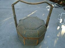 Octagonal Eight 8 Sided Handled Basket Lidded with Lid Wooden Brown