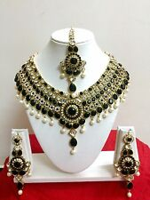 Indian Bollywood Style Diamante Kundan Pearl Gold Plated Bridal Jewelry Set