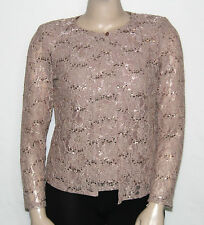 MSK LARGE Long Sleeve Floral Lace Sequin Cardigan with Sleeveless Tank $69.00